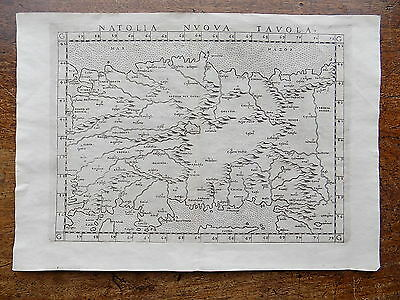 1561 Ruscelli Map Anatolia Turkey Genuine Old Antique W Asia Cyprus Istanbul