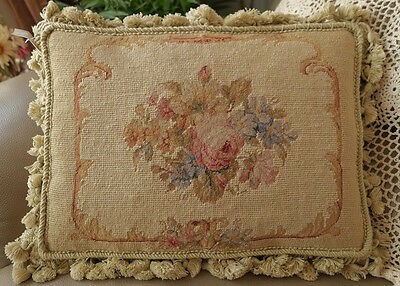"16"" Vintage Castle Interior Decor Roses Scroll Chic Shabby Needlepoint Pillow"