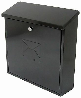 Sterling Contemporary Black Top Opening Wall Outdoor Post Letter Box