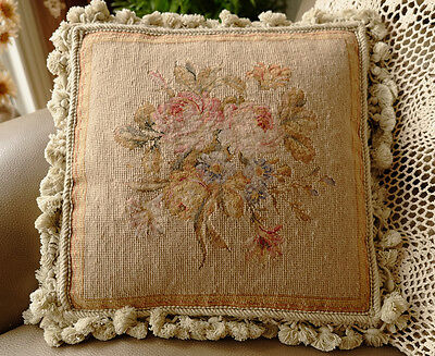 "14"" Vintage Decor Handmade Tiny Petit Point Rose Morning Glory Bouquet Pillow"