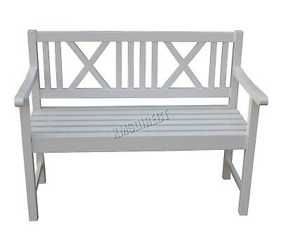 WestWood Outdoor Home 2 Seater Garden Bench Fir wood Picnic Patio OB01 White