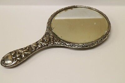 "Antique Silver Vanity Mirror 11"" Long 6.5"" Wide Floral Design"