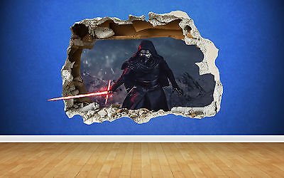 Star Wars Kylo Ren Wall Sticker - 3D Smashed Bedroom Boys Girls Wall Art Decal