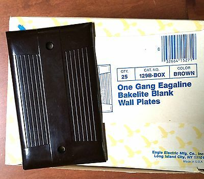 BULK Box Of 25 Vintage Bakelite EAGLE 129B Brown Blank Wall Plates Mid-Century • CAD $94.49