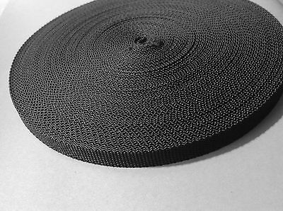 10mm Black Nylon Webbing 2 ROLLS of 50Mts 100 metres Total