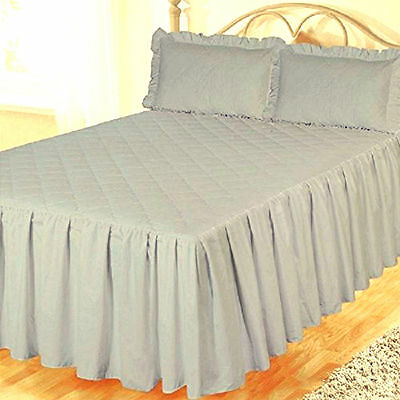 King Size Grey Egyptian Cotton 200 Thread Count Fitted Bedspread & Pillowshams
