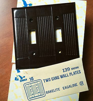 BULK Box of 10 Two Gang Eagle Bakelite Toggle Brown Wall Plates 139B Box Vintage