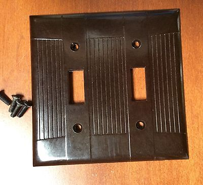 Vintage Bakelite EAGLE Brown 2 Gang 2 Toggle Switch Plate New in Plastic/Screws