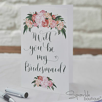 WILL YOU BE MY BRIDESMAID? Card & Envelope (Single OR 5 Pack) Floral/Boho/Rustic