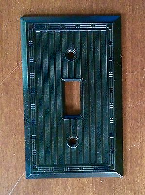 Vintage Bakelite Ribbed Brown Single Toggle Switch Plate (More available)