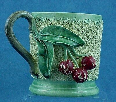 Antique French Barbotine Palissy Majolica Pottery Dimensional Cherries FROG MUG