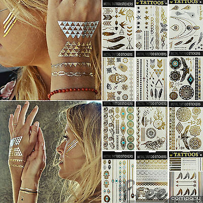 New Temporary Tattoo Sticker Gold Metallic Body Art Flower Face Fashion Crystals