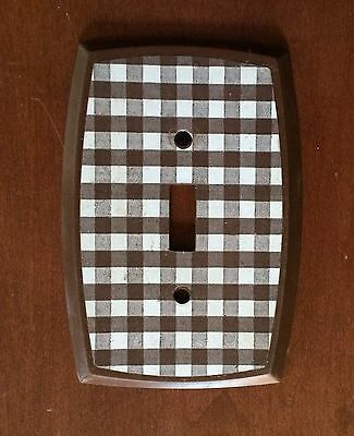 Vintage Bakelite Checkered Brown Single Toggle Switch Plate (More available)