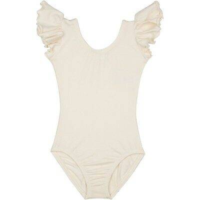 LINED IVORY CREAM Leotard with Flutter / Ruffle Sleeve for Toddler & Girls