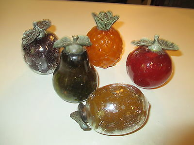 Vintage Lot Of 5.   Crackle  Glass  Fruit With  Metal Leaves
