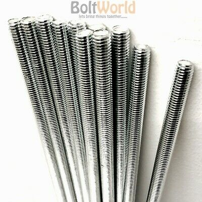 1M & 300mm FULLY THREADED METRIC BAR STUDDING ROD STUD STEEL ZINC PLATED BZP UK