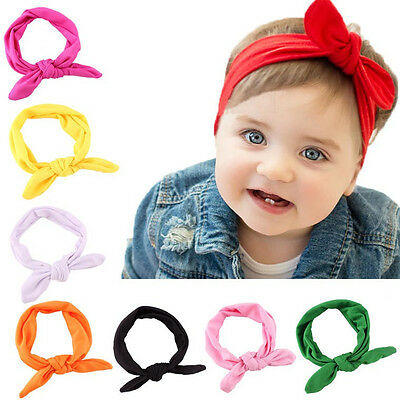 Baby Kids Girls Rabbit Bunny Bow Ear Hairband Headband Turban Knot Head Wraps