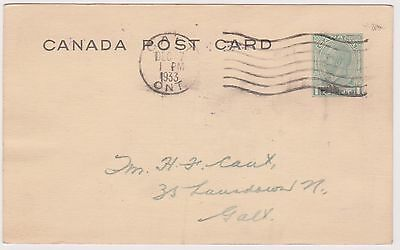 (ICE-46) 1933 Canada 1c KGV Post card message on back