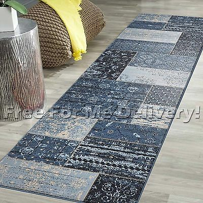 LEGACY PATCHWORK STYLE BLUE TRADITIONAL RUG RUNNER 80x300cm **FREE DELIVERY**