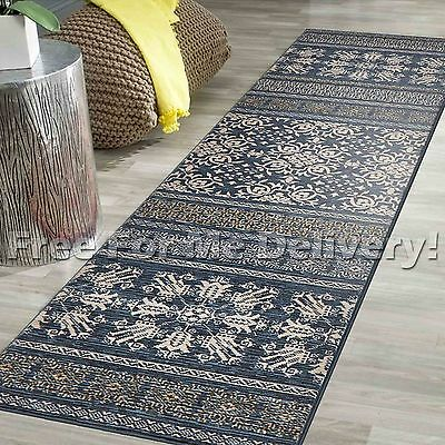 LEGACY VINTAGE STYLE BLUE TRADITIONAL RUG RUNNER 80x400cm **FREE DELIVERY**
