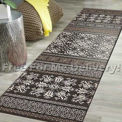 LEGACY VINTAGE STYLE BROWN TRADITIONAL RUG RUNNER 80x400cm **FREE DELIVERY**