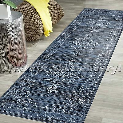 LEGACY VINTAGE STYLE BLUE TRADITIONAL RUG RUNNER 80x500cm **FREE DELIVERY**
