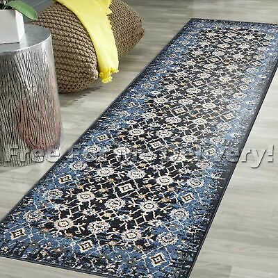 LEGACY VINTAGE STYLE BLUE TRADITIONAL RUG RUNNER 80x300cm **FREE DELIVERY**