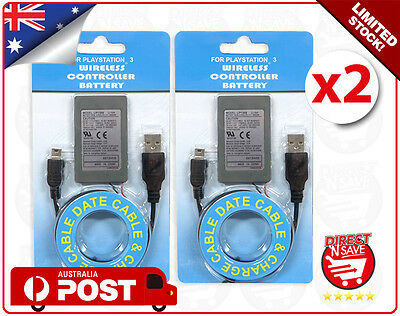 PS3 Wireless Controller Battery x 2 Playstation 3 Li-ion Battery 3.7V 1800mAh
