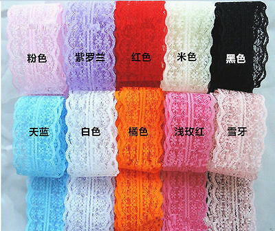 Wholesale!5 Yard Bilateral Handicrafts Embroidered Net Lace Trim Ribbon CAMG1