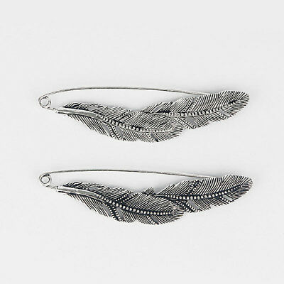 2 Silver Tone Large Feather Durable Strong Metal Kilt Scarf Brooch Safety Pin