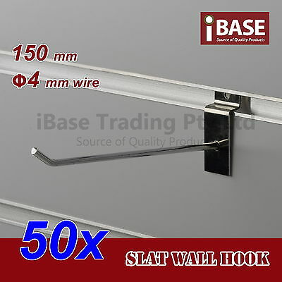 50 x SLAT WALL HOOK SLATWALL PANEL GROOVED DISPLAY BOARD CHROME STEEL 150MM 4MM