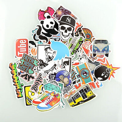 50PCs Luggage Stickers Skateboard Decals Vintage Graffiti Laptop Car mix lot