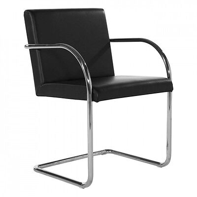 Mies Van Der Rohe Style Brno Chair Tubular Black or Red Leather Premium Quality