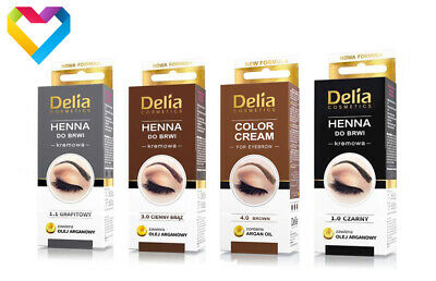HENNA DELIA COLOUR CREAM FOR EYEBROWS BLACK DARK BROWN GRAPHITE BROWN 15ml