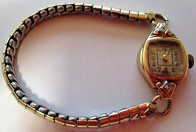 Vintage 14K Solid Gold Dimonds Clinton Swiss Manual Wind Ladies Watch 17 Jewels