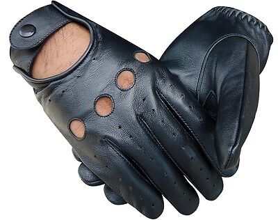 Real Jenuine Lambskin Sheep Leather Driving Fashion Police Dress Gloves Brown