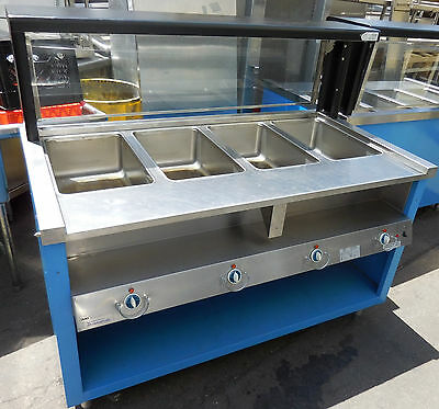 """Steam Table with Sbeeze Guard, Thurmaduke TEHF60"""" 4 Wells Over Shelf, Electric"""