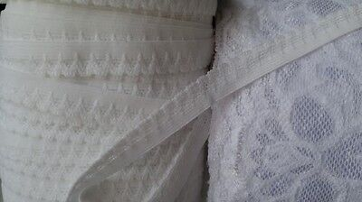 """Wholesale roll 90 yards white picot elastic trim 1/2"""" W. great for lingerie"""