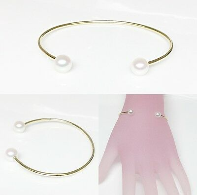 14k Solid Gold Cuff with Fresh Water Pearl