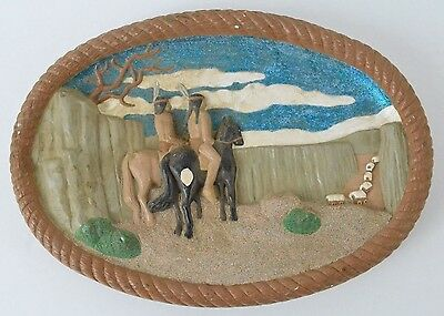 Hershey Molds 1981 Plaster of Paris Native American Indians riding horses plaque