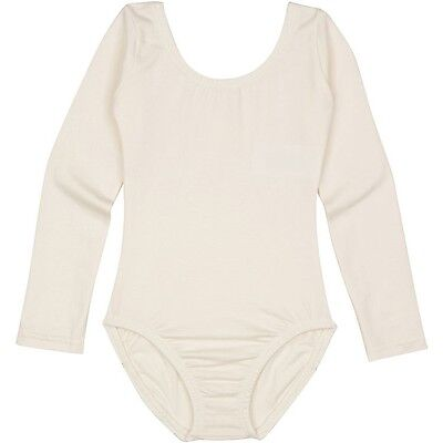 LINED IVORY CREAM Toddler & Girls Long Sleeve Ballet Dance Leotard