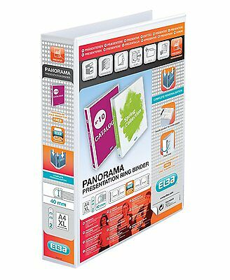 ELBA A4 PANORAMA POLYVISION 60mm PRESENTATION 2D RING BINDER WHITE 400008505
