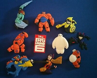 New 10 Pc Big Hero 6 Shoe Charms Jibbitz Cake Toppers Party Favors Wristbands