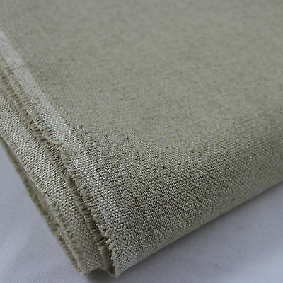 "Heavy Linen Upholstery Weight Canvas Fabric Natural Colour 59"" wide per metre"