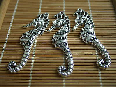 10 x Large Tibetan Silver Sea Horse Charms Pendants 52mm For Jewellery Making