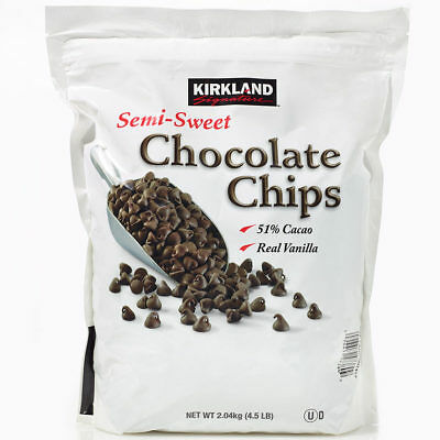 Kirkland Signature Semi-Sweet Chocolate Chips 51% Cacao, 2.04Kg Re-Sealable Bag