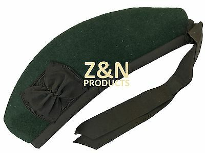 Glengarry Classic Scottish Hat Plain Green -100% Pure Acrylic Wool