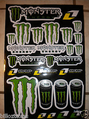 "Monster Energy Drink Decals Stickers *double Size Sheet* (17""x11"") Free Shipping"