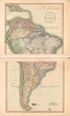 South America Antique Map Cary 1808 Original