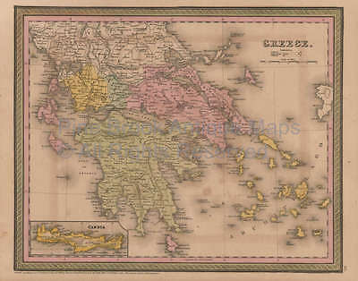 Greece Vintage Map Mitchell Cowperthwait 1853 Original